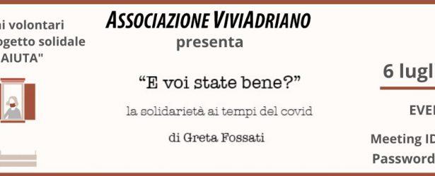 6 Luglio: Greta Fossati: la solidarietà ai tempi del Covid