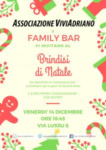 Aperitivo di Natale dicembre 2018 Family Bar locandina - Associazione ViviAdriano