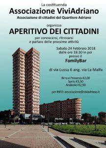 Aperitivo febbraio 2018 Family Bar locandina - Associazione ViviAdriano