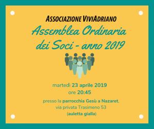 Assemblea soci 2019 locandina - Associazione ViviAdriano