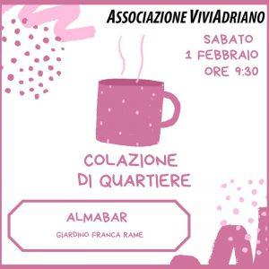 Colazione di Quartiere febbraio Alma Bar locandina - Associazione ViviAdriano