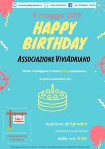 Compleanno 1 anno locandina - Associazione ViviAdriano