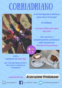 CorriAdriano e Colazione primo sabato del mese 2019 locandina - Associazione ViviAdriano