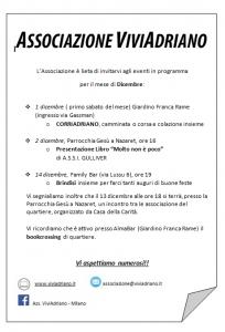 Eventi dicembre 2018 locandina - Associazione ViviAdriano