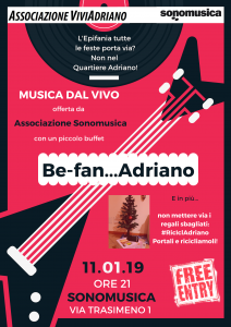 Evento Sonomusica gennaio 2019 locandina - Associazione ViviAdriano