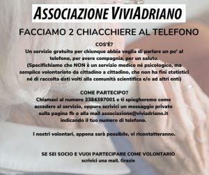 Facciamo due chiacchere al telefono locandina - Associazione ViviAdriano
