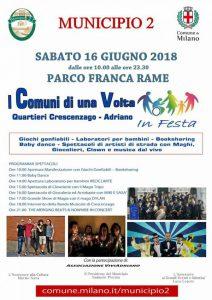 I Comuni di una Volta giugno 2018 Municipio 2 locandina - Associazione Viviadriano