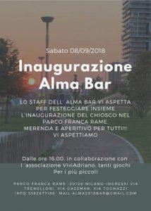Inaugurazione Alma Bar settembre 2018 locandina - Associazione ViviAdriano