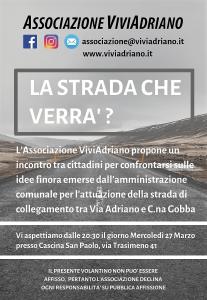 La strada che verrà marzo 2019 locandina - Associazione ViviAdriano