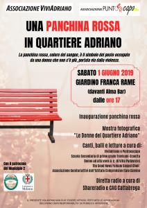 Panchina Rossa giugno 2019 locandina - Associazione ViviAdriano (fronte)