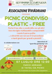 Picnic plastic free in Settimana Ecovirtuosa luglio 2019 locandina - Associazione ViviAdriano