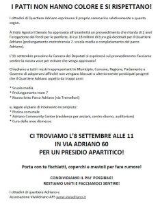 Presidio apartitico settembre 2018 locandina - Associazione ViviAdriano