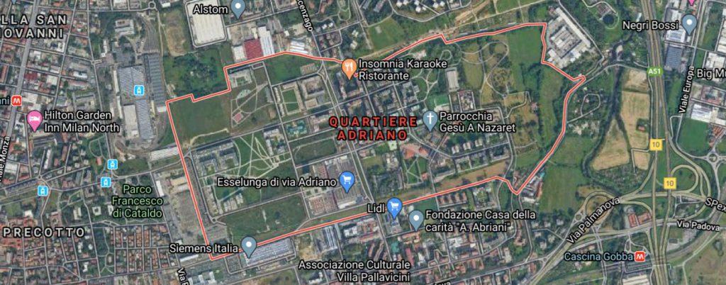Quartiere Adriano satellite by Google Maps evidenza - Associazione ViviAdriano