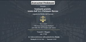 Seminario con Avvocato prima parte 1 maggio 2020 locandina - Associazione VviAdriano