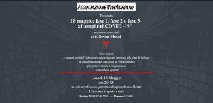 Seminario con Dottore per Covid19 18 maggio 2020 locandina - Associazione ViviAdriano