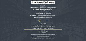 Seminario con tema violenza di genere 1 giugno 2020 locandina - Associazione ViviAdriano