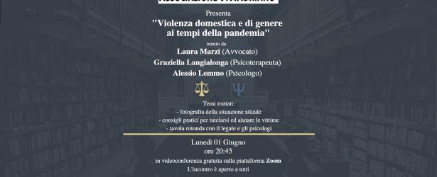 01 giugno: Violenza domestica ai tempi della Pandemia