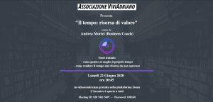 Seminario il tempo come risorsa di valore 22 giugno 2020 locandina - Associazione ViviAdriano