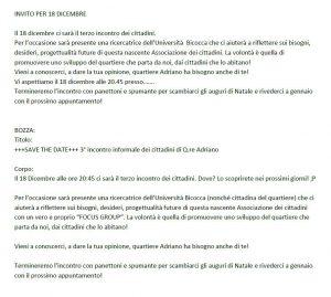 Terzo incontro informale cittadini dicembre 2018 locandina - Associazione ViviAdriano